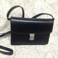 Bally, Black Leather Double Gusset -Crossbody Bag 9in x 6.5in x 4in
