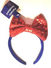 Headband Patriotic Red Glittery Bow Blue Band Party Fun Accessory New