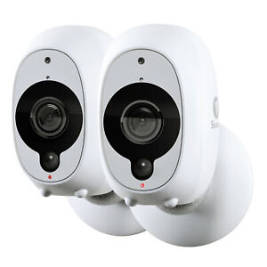 Refurbished Swann Smart Security Cameras, 2 Pack: 2 x 1080p Full HD Wireless