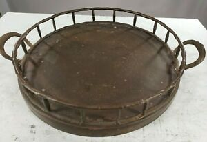 Vintage Solid Brass Hand Hammered Round Serving Tray OLD RARE Bamboo Style 1900