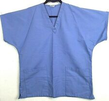 Hice Scrub Top Size Medium Blue Solid 2 Patch Pockets V-Neck #501