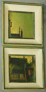 2 Mid Century Modern Painting 1950's Vignette Urban Rooftops White Picture Frame