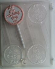 OUR WEDDING DAY LOLLIPOP CLEAR PLASTIC CHOCOLATE CANDY MOLD W031
