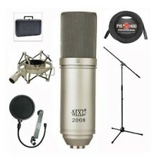 MXL 2008 Condenser Vocal Recording Microphone with Shockmount Case xlr cable Mic