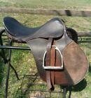 English Saddle with Stirrups ~ Vintage Leather Hunt Saddle / Equestrian Horse