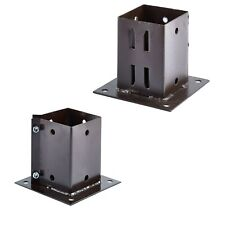 More details for bolt down fence support galvanised brown square post holder grip anchor