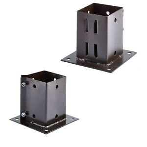 Bolt Down Fence Support Galvanised Brown Square Post Holder Grip Anchor