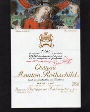 PAUILLAC 1ER GCC ETIQUETTE CHATEAU MOUTON ROTHSCHILD 1985 37.5 CL    §09/10/17§