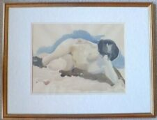 watercolour reclined nude/ female, woman, lady, art paintings, framed, signed