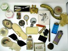Vintage Vanity Dressing Table Accessories Mirrors Powder Puffs Comb Tin Jars Lot