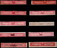 US,10 Internal Revenue Distilled Spirits Stamps, EXPORT, CANADIAN SHENLEY, IDD-A