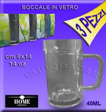 Boccale di Birra 3 pezzi  in Vetro Festa Party Bicchiere 40ml