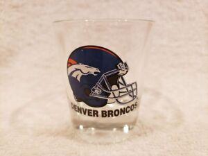 VINTAGE 1990's Denver Broncos 2 1/2 Inch Clear Shot Glass, MINT!!