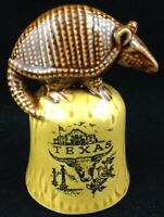 Vtg Armadillo Bell Texas Souvenir Longhorn Alamo Mockingbird Oil Ceramic Japan