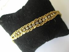 bracelet bijou style vintage plaqué or torsade et centre cristal diamant  248
