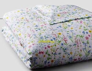 Yves Delorme Beaucoup Duvet Cover 111x92 Floral White Pastel Egyptian Cotton NWT