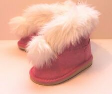 Gymboree Infant Baby Girl Size 4 Cozy Cutie Pink Boots with White Faux Fur NEW