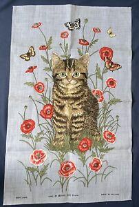 Unused Ulster Weavers Irish Linen Tea Towel Tabby Cat - Poppy flowers Butterfly
