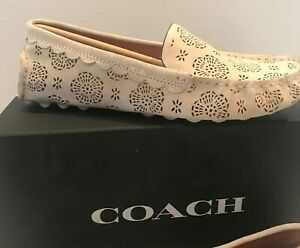 Coach Crosby Women's Suede Slip on Moccasin Loafer Ivory Cutout 9.5
