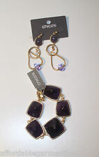 chico's Sold Out Shiloh Purple Magnetic Bracelet Purple Linear Drop Earrings Set