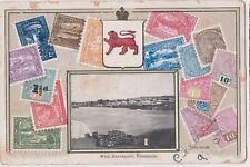 Stamp Victoria 1d red on Zeiher style postcard view of West Davenport Tasmania