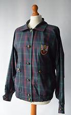 Ladies Daks Navy Blue & Green Check Golf Jacket Size Uk 12