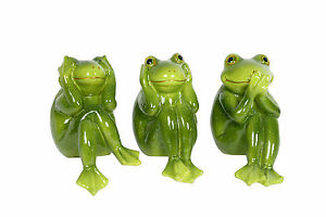 Speak No, Hear No, See No Evil Sitting Frogs 21cm. Individual or Set!!
