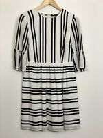 FRENCH CONNECTION Womens Black White Striped Lined 3/4 Sleeve Scoop Neck Dress 8