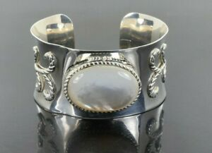 """Designer Inspired Cuff Bracelet with Huge Mother of Pearl in Sterling Silver 7"""""""