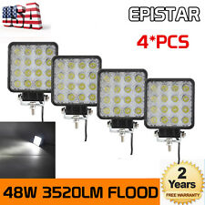 4X 48W Flood Square Led Work Lights Off Road ATV SUV 4X4 Car Boat Jeep Truck US