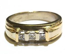 14k yellow white gold .30ct princess diamond mens wedding band ring 7.3g gents
