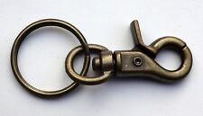 "1 Lobster Scissor Trigger Clasp Claw + Key Ring Antique Brass ~ Length 2-3/4"""