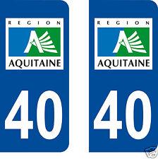 stickers autocollants plaques immatriculation auto Département Landes 40