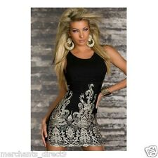 Women's Sexy Little Black Dress Gold Embroidered Front, SM 2-8 Dancer Club