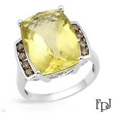 FPJ Cocktail Ring w/ Genuine Diamonds & Quartz in 10k White Gold- 10.16 ctw, 7.5
