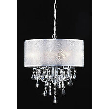 Chandelier Contemporary Hanging Ceiling Fixture 4 Light Chrome Crystal Shade NEW