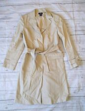 Womens Brooks Brothers Stretch Khaki Spring Trench Coat Belted Dress Jacket 8