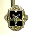 Antique 14K White Gold Masonic Star Filigree Floral Ladies Ring Diamond Size 4.5