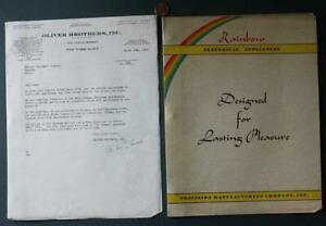 1948 New York City Rainbow Electrical Appliances TWO piece booklet-letter set!*