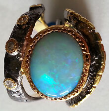 Australian Opal Diamond Ring, Silver, Rhodium Plated, Gold Accents, Size ~7.5