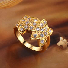 18k yellow gold GP star CZ Ring Sz7 R-A144