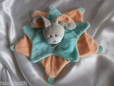 Doudou lapin étoile, orange, bleu, Baby Nat, (Babynat)