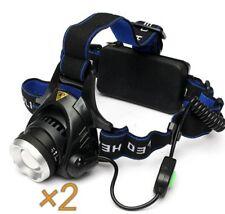 2 × XANES XML T6 Vélo Lampe Frontale Phare Zoomable Réglable Lumière DEL