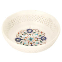 """5""""x5''x1.5'' White Marble Fruit Bowl Marquetry Floral Lattice Inlay Decor H3637"""
