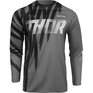Thor Sector Tear Jersey Black/Gray for Offroad Motocross - Men's Sizes