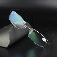 Herren Lesebrille Optische Brille Memory Titan Brillengestell Randlos Best Y9B8