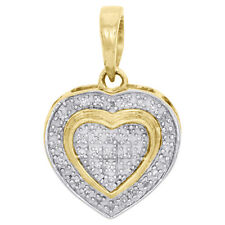 "10K Yellow Gold Round Diamond Double Frame Heart Pendant 0.7"" Pave Charm 0.15 CT"