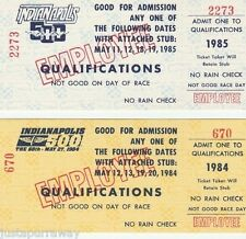 4 INDY INDIANAPOLIS 500 QUALIFICATION  TICKETS 1984 AND 1985,Two each