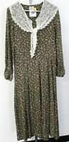 Vintage Laura Ashley Womens Green and White Floral Maxi Dress Size UK 12 .ASH H8