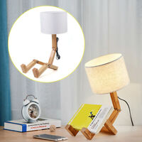 NEW Robot Bedside Lamp 40W Fabric Lampshade Foldable Solid Wood Table Lamp USA